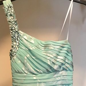 Aqua and silver full length dress